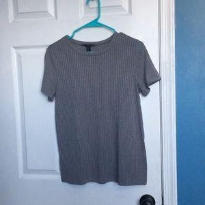 Grey Ribbed T-Shirt